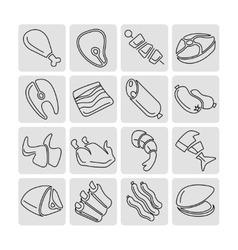 Meat outline linear icons set vector