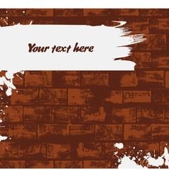 Brick wall background with paint stroke vector