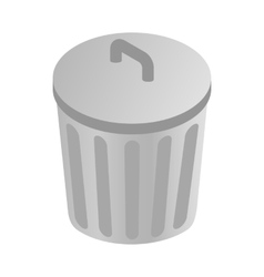 Grey trash can icon isometric 3d style vector image