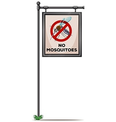 No mosquitoes sign on the pole vector