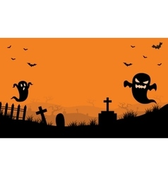 Halloween ghost in tomb orange backgrounds vector