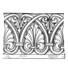 Anthemion frieze from south germany vintage vector