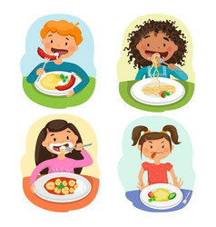 Beautiful childrens enjoying healthy lunch in vector