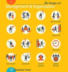 Business icon set Management human resources vector image vector image