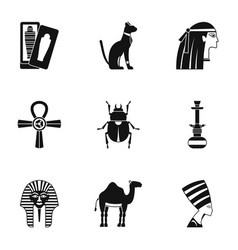 Cairo travel icons set simple style vector