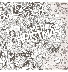 Cartoon cute doodles hand drawn merry christmas vector