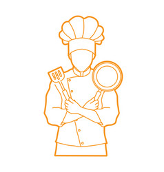 chef cook standing crossed arms vector image