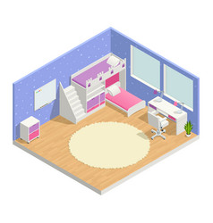 Children room isometric composition vector