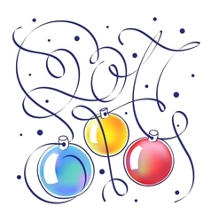 Christmas with hand lettering 2017 vector image