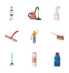 Cleaning company icons set cartoon style vector