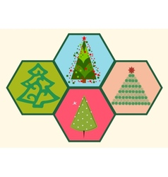 Collection of Christmas trees 03 vector image vector image