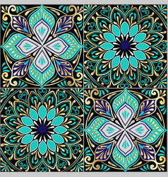 colorful floral seamless pattern from squares vector image vector image