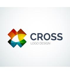 Cross logo design made of color pieces vector