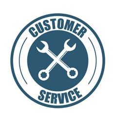 Customer service support tools badge vector