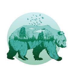 Double exposure wild bear and forest vector