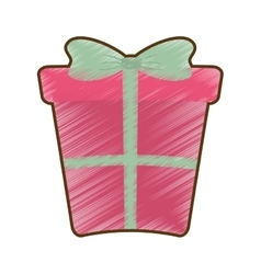 Drawing pink big gift box with bow vector