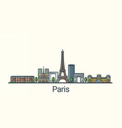 flat line paris banner vector image