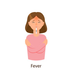 flat style girl woman having fever flu symptom vector image vector image