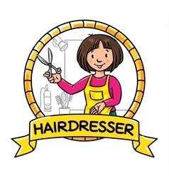 Funny hairdresser emblem profession abc series vector