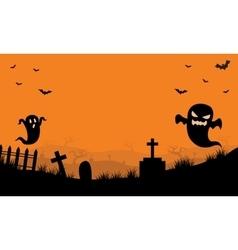Halloween ghost in tomb orange backgrounds vector