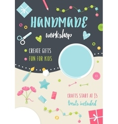 Handmade tutorials and workshops banner crafts vector