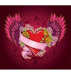 heart ribbon wings vector image