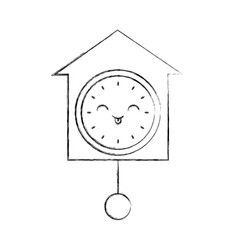 Kawaii clock pendulum decoration office vector
