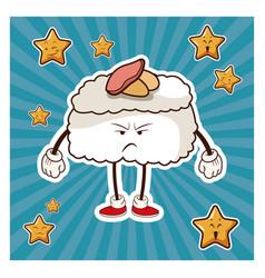 Kawaii roll japanese food angry character vector