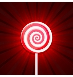 Lollipop Candy on Red Background vector image
