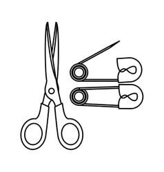 Monochrome contour with scissor tool and diaper vector