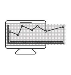 Monochrome silhouette of screen monitor and vector