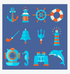 nautical elements in cartoon style marine vector image