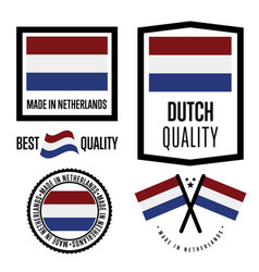 Netherlands quality label set for goods vector