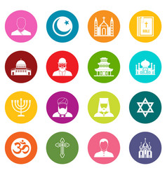 religious symbol icons many colors set vector image
