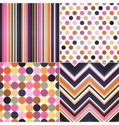 Seamless retro stripes zig zag and polka dots bac vector