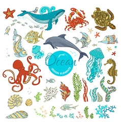 Set of cartoon wild animals and plants vector