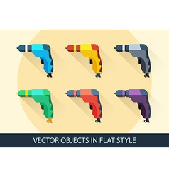 Set of drills in flat style with a long shadow vector image vector image