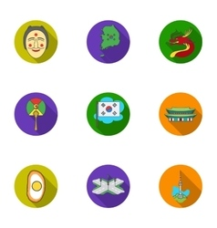 South korea set icons in flat style big vector