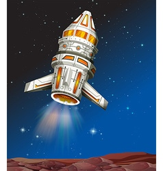 Spaceship flying in the dark space vector image vector image