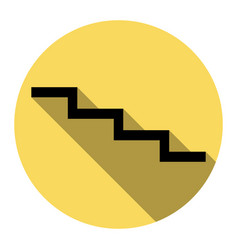 Stair down sign flat black icon with flat vector