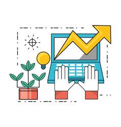 Technology teamwork to development process vector