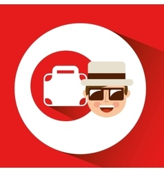 Tourist man with camera and briefcase vector