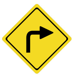 Turn right sign on white background turn right vector