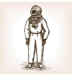 Vintage diver man with diving dress sketch vector image