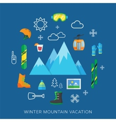 Winter vacation flat icon set vector