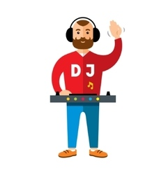 Dj flat style colorful cartoon vector