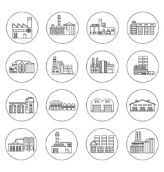Building factory outline icons vector