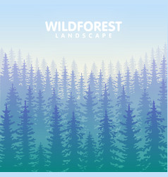 the blue wildforest landscape vector image