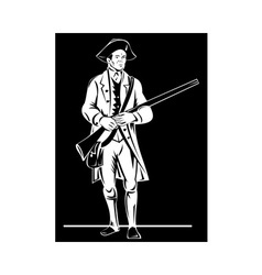 American revolution soldier patriot with rifle vector