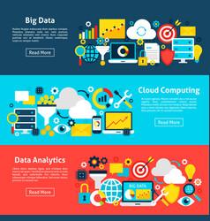 Big data horizontal banners vector